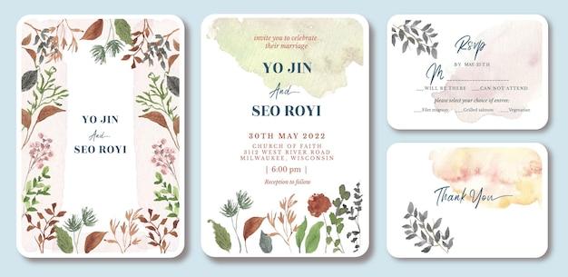 Huwelijksuitnodiging met prachtige wilde bloemenwaterverf