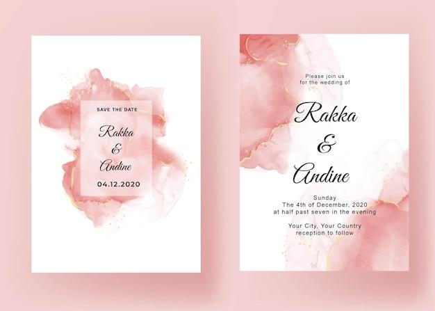 Huwelijksuitnodiging met roze abstracte alcoholinkt