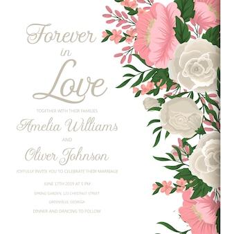 Huwelijksuitnodiging met roze bloem.