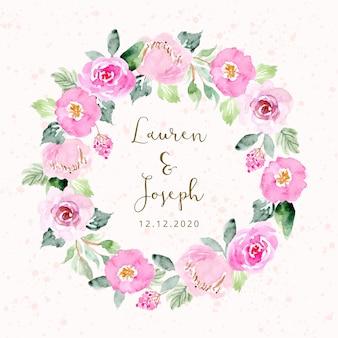 Huwelijksuitnodiging met roze bloemenkroon