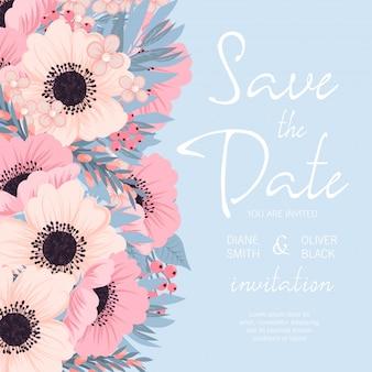Huwelijksuitnodiging met roze en blauwe bloem