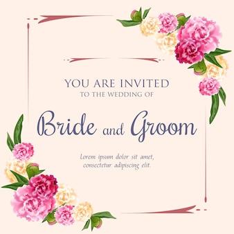 Huwelijksuitnodiging met roze en witte pioenen op roze achtergrond.