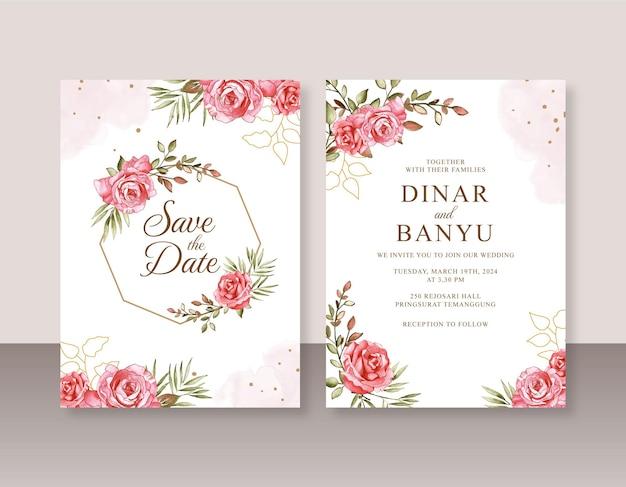 Huwelijksuitnodiging met rozen aquarel schilderij