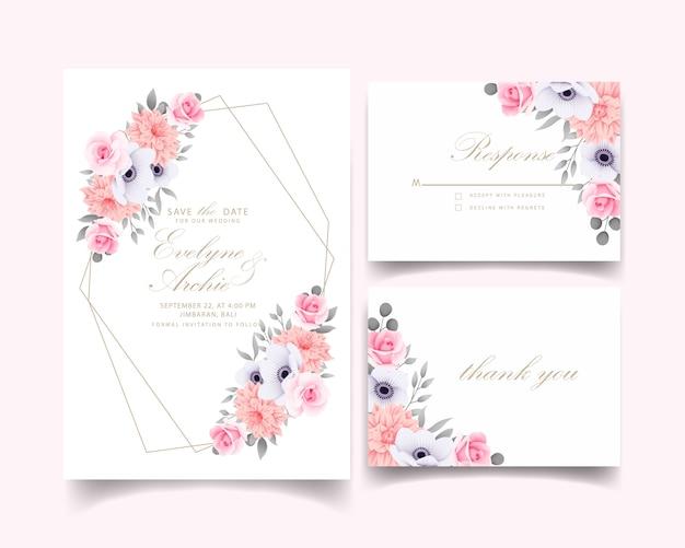 Huwelijksuitnodiging met rozen