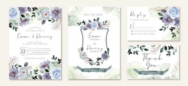 Huwelijksuitnodiging met rustieke blauwgroene bloemenwaterverf