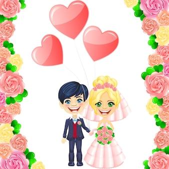 Huwelijksuitnodiging met schattige cartoon bruid en bruidegom in het kader van rozen