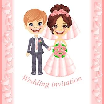 Huwelijksuitnodiging met schattige cartoon bruid en bruidegom