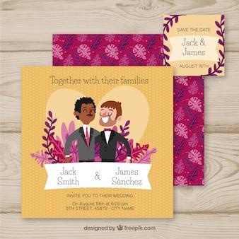 Huwelijksuitnodiging met schattige koppels