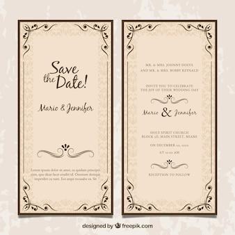 Huwelijksuitnodiging met twee kanten in uitstekende stijl