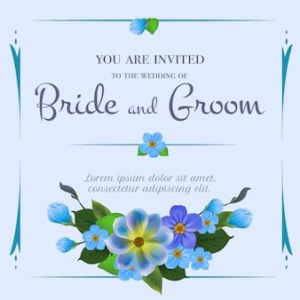 Huwelijksuitnodiging met vergeet-mij-nietjes op lichtblauwe achtergrond.