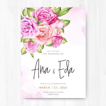 Huwelijksuitnodiging met waterverf roze bloemen