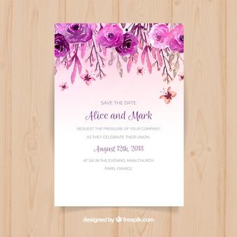 Huwelijksuitnodiging met waterverfbloemen