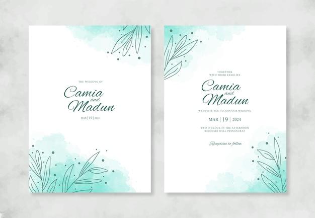 Huwelijksuitnodiging met waterverfplons en lijntekeningen