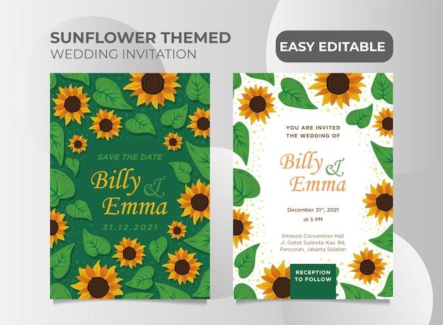Huwelijksuitnodiging met zonnebloemtuinthema gemakkelijk bewerkbaar