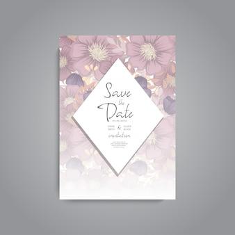 Huwelijksuitnodiging. Mooie bloemen. Wenskaart. Frame.
