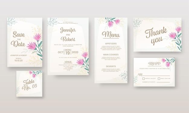 Huwelijksuitnodiging of sjabloonlay-out zoals bewaar de datum, locatie, menu, tafelnummer, bedankt en rsvp-kaart.