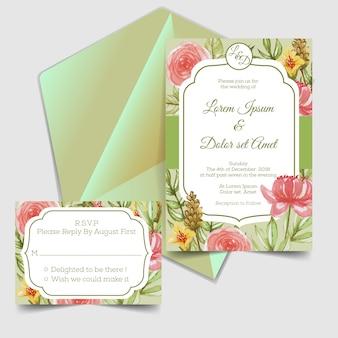 Huwelijksuitnodiging & rsvp groene waterverfbloem