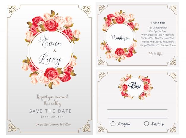 Huwelijksuitnodiging, rsvp-kaart, bedankt, bruiloft
