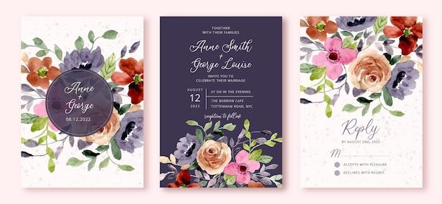 Huwelijksuitnodiging set met bloementuin aquarel