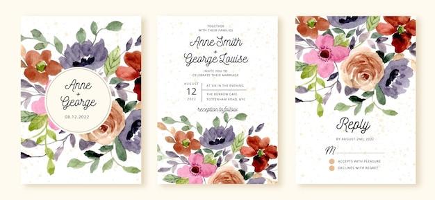 Huwelijksuitnodiging set met mooie bloem aquarel