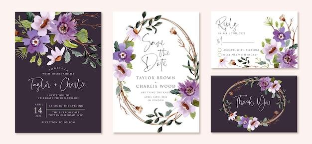 Huwelijksuitnodiging set met paarse bloem aquarel