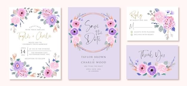 Huwelijksuitnodiging set met zacht paars roze bloemen aquarel