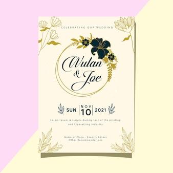 Huwelijksuitnodiging sjabloonnaam van de bruid en bruidegom eenvoudig en modern ontwerp