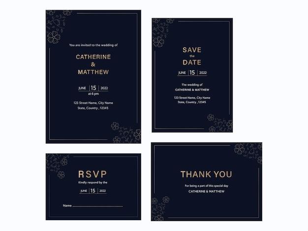 Huwelijksuitnodiging suite met vier opties in marineblauwe kleur.