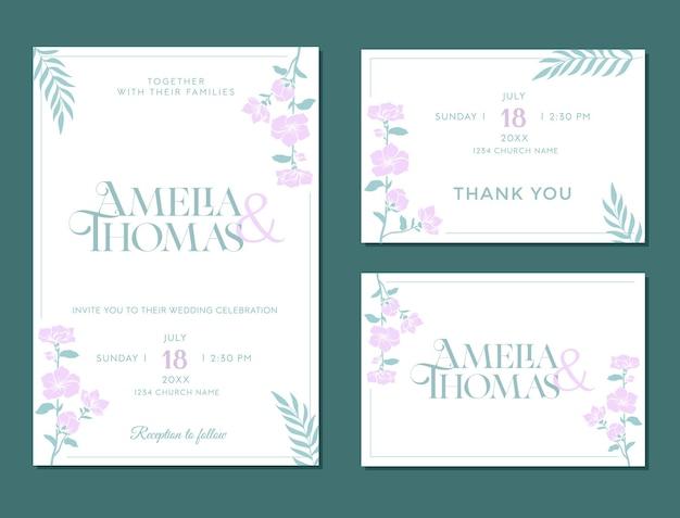 Huwelijksuitnodiging verlovingskaart rsvp bloemen rustiek sjabloonontwerp