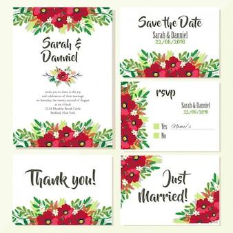 Huwelijksuitnodigingen bloemdessin