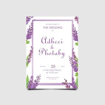 Huwelijksuitnodigingen met lavendel bloem frames