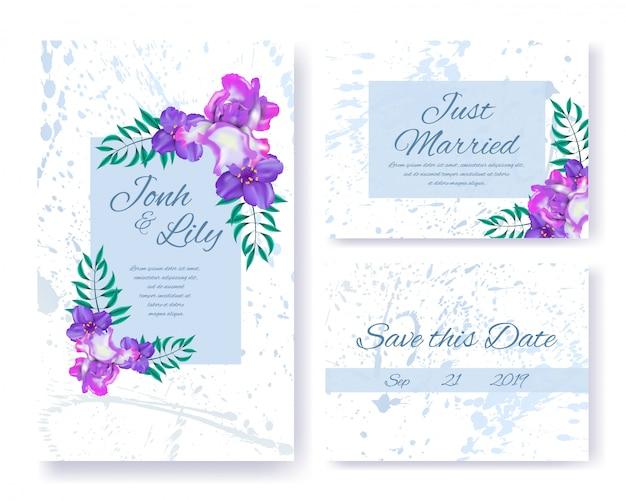 Huwelijksuitnodigingen set met bloemen en bladeren