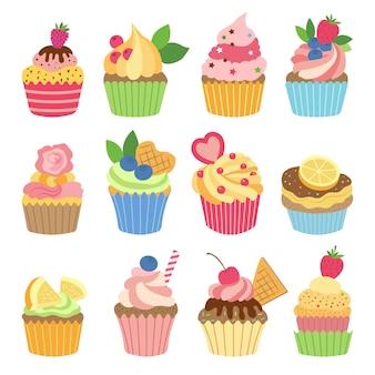 Huwelijksvanille cupcakes op witte achtergrond wordt geïsoleerd die. vectorillustraties instellen in vlakke stijl