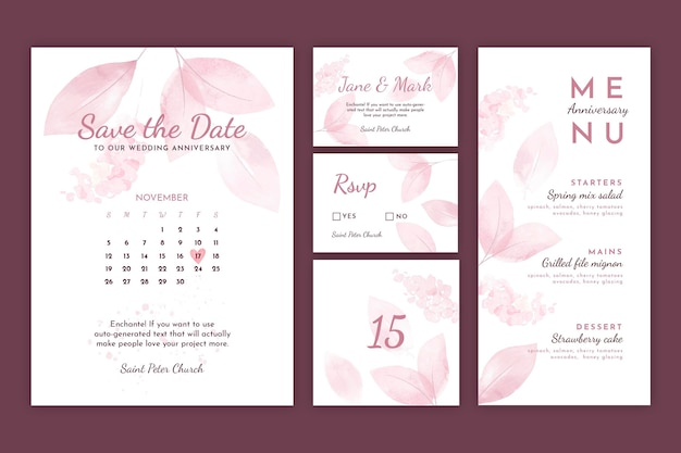 Huwelijksverjaardag briefpapier collectie