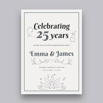 Huwelijksverjaardag kaartsjabloon