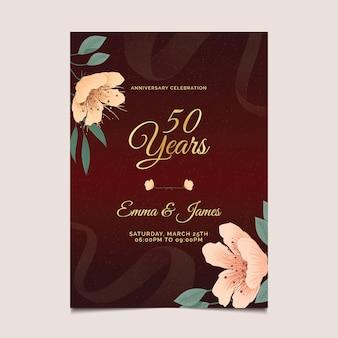 Huwelijksverjaardag verticale kaartsjabloon