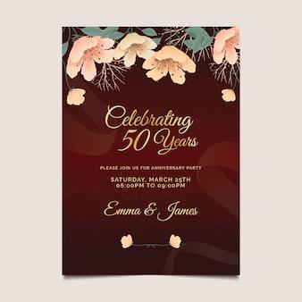 Huwelijksverjaardag verticale kaartsjabloon Premium Vector