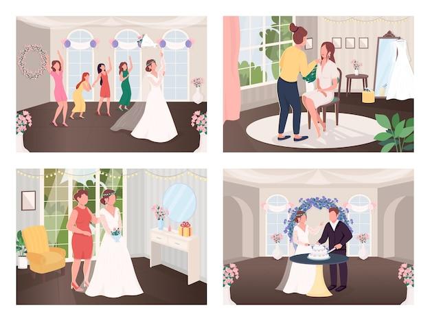 Huwelijksviering tradities egale kleur illustratie set