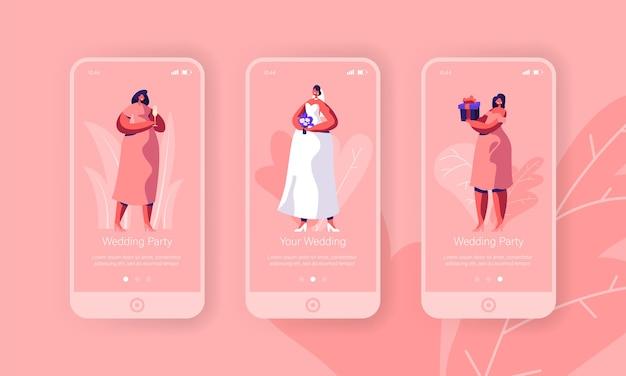 Huwelijksvoorbereiding vrijgezellenfeest mobiele app-pagina schermset aan boord. gelukkige bruid met bloemboeket draagt witte jurk. bruidsmeisje in roze concept voor website. platte cartoon vectorillustratie