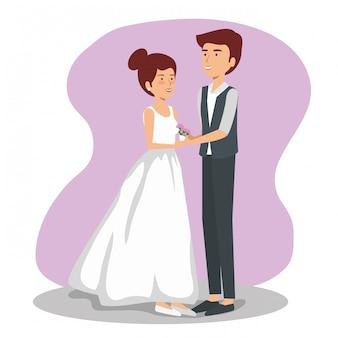 Huwelijksvrouw en man paar met kleding en kostuum