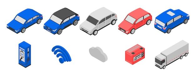 Hybride iconen set, isometrische stijl
