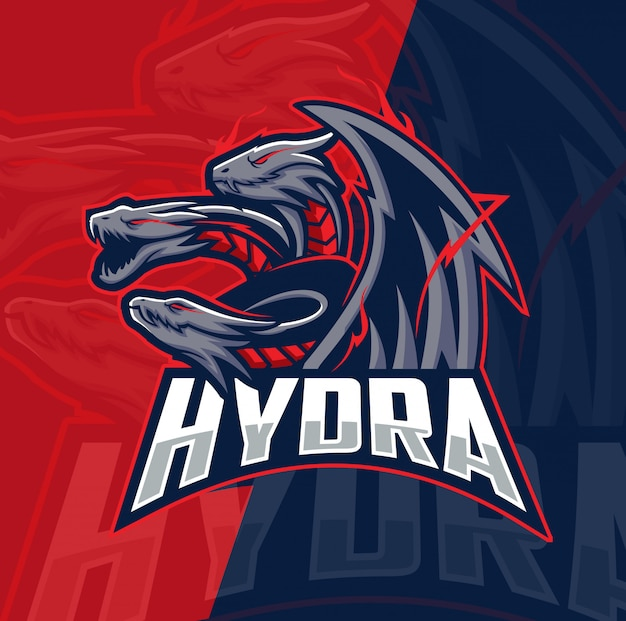 Hydra dragon mascotte esport logo ontwerp