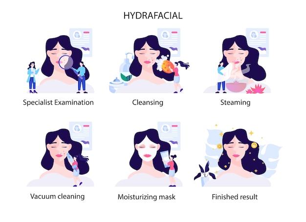 Hydrafacial procedure stap. modern cosmetologieconcept. jonge vrouw die gezichtsreiniging en behandeling heeft. vrouwelijke personage salon schoonheidsspecialist therapie doen. set