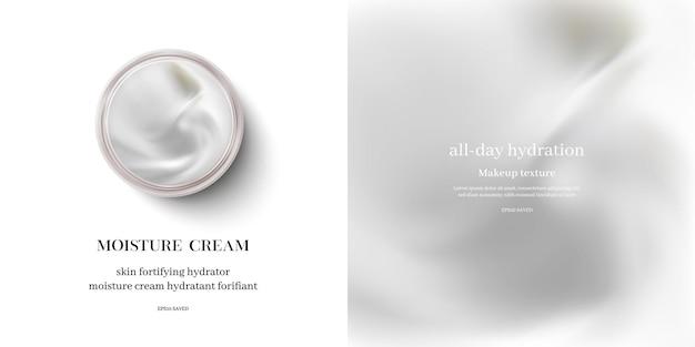 Hydraterende crème of swirl cosmetische crème, bovenaanzicht.