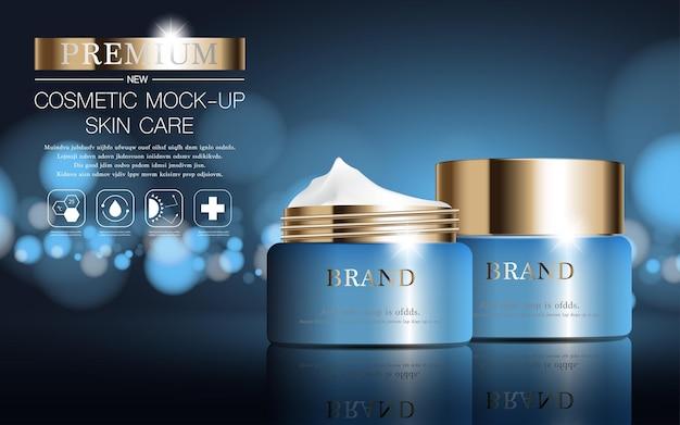 Hydraterende gezichtscrème voor jaarlijkse verkoop of festivalverkoop blauwe en gouden crèmemaskerfles