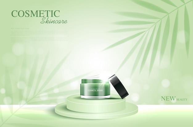 Hydraterende gezichtscrème voor jaarlijkse verkoop of festivalverkoop groene crèmemaskerfles geïsoleerd