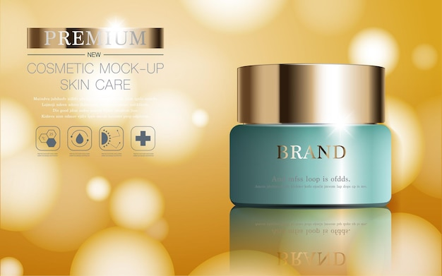 Hydraterende gezichtscrème voor jaarlijkse verkoop of festivalverkoop groene en gouden crèmemaskerfles