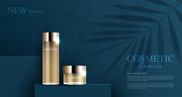 Hydraterende gezichtscrème voor jaarlijkse verkoop of festivalverkoop zilveren en gouden crèmemaskerfles geïsoleerd