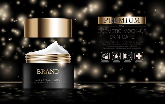 Hydraterende gezichtscrème voor jaarlijkse verkoop of festivalverkoop zwarte en gouden crèmemaskerfles geïsoleerd