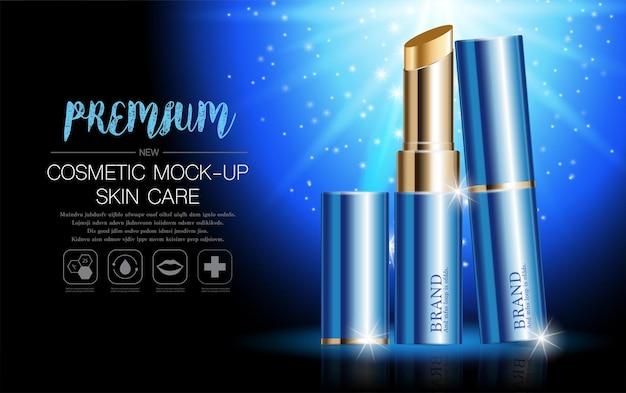Hydraterende gezichtslippenstift voor jaarlijkse verkoop of festivaluitverkoop. blauwe en gouden lippenstiftmaskerfles.